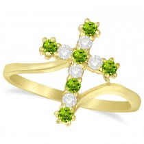 Diamond & Peridot Religious Cross Twisted Ring 14k Yellow Gold (0.33ct)