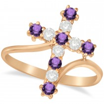 Diamond & Amethyst Religious Cross Twisted Ring 14k Rose Gold (0.51ct)