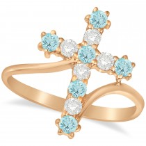 Diamond & Aquamarine Religious Cross Twisted Ring 14k Rose Gold (0.51ct)
