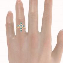 Blue & White Diamond Religious Cross Twisted Ring 14k Rose Gold (0.51ct)