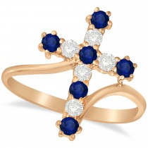 Diamond & Blue Sapphire Religious Cross Twisted Ring 14k Rose Gold (0.51ct)