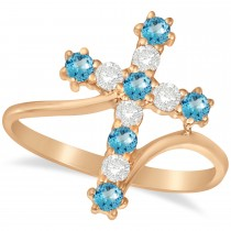 Diamond & Blue Topaz Religious Cross Twisted Ring 14k Rose Gold (0.51ct)