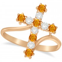 Diamond & Citrine Religious Cross Twisted Ring 14k Rose Gold (0.51ct)
