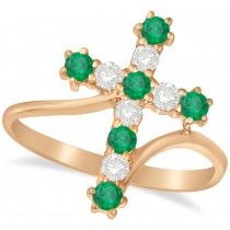 Diamond & Emerald Religious Cross Twisted Ring 14k Rose Gold (0.51ct)