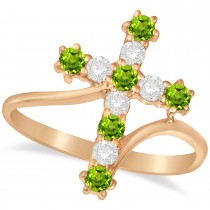 Diamond & Peridot Religious Cross Twisted Ring 14k Rose Gold (0.51ct)