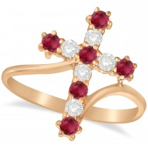 Diamond & Ruby Religious Cross Twisted Ring 14k Rose Gold (0.51ct)