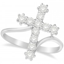Diamond Religious Cross Twisted Ring 14k White Gold (0.51ct)