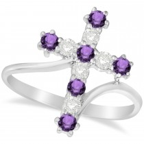 Diamond & Amethyst Religious Cross Twisted Ring 14k White Gold (0.51ct)