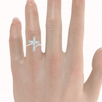 Diamond & Aquamarine Religious Cross Twisted Ring 14k White Gold (0.51ct)