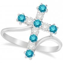 Blue & White Diamond Religious Cross Twisted Ring 14k White Gold (0.51ct)