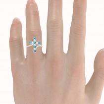 Blue & White Diamond Religious Cross Twisted Ring 14k White Gold (0.51ct)