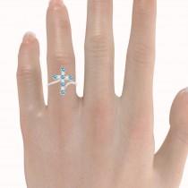 Diamond & Blue Topaz Religious Cross Twisted Ring 14k White Gold (0.51ct)