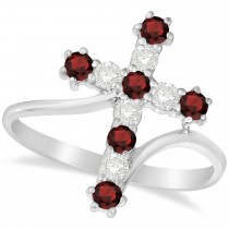 Diamond & Garnet Religious Cross Twisted Ring 14k White Gold (0.51ct)