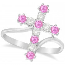 Diamond & Pink Sapphire Religious Cross Twisted Ring 14k White Gold (0.51ct)