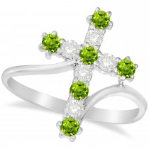 Diamond & Peridot Religious Cross Twisted Ring 14k White Gold (0.51ct)