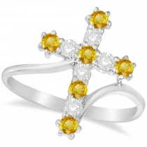 Diamond & Yellow Sapphire Religious Cross Twisted Ring 14k White Gold (0.51ct)