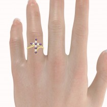 Diamond & Amethyst Religious Cross Twisted Ring 14k Yellow Gold (0.51ct)