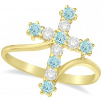 Diamond & Aquamarine Religious Cross Twisted Ring 14k Yellow Gold (0.51ct)