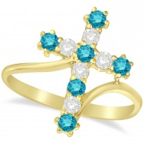 Blue & White Diamond Religious Cross Twisted Ring 14k Yellow Gold (0.51ct)