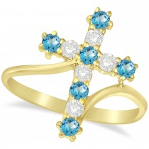 Diamond & Blue Topaz Religious Cross Twisted Ring 14k Yellow Gold (0.51ct)