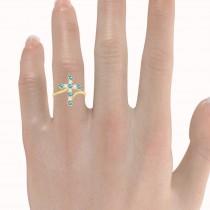 Diamond & Blue Topaz Religious Cross Twisted Ring 14k Yellow Gold (0.51ct)