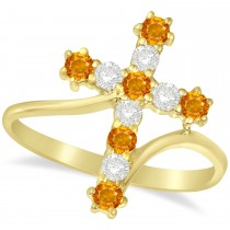 Diamond & Citrine Religious Cross Twisted Ring 14k Yellow Gold (0.51ct)