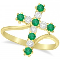 Diamond & Emerald Religious Cross Twisted Ring 14k Yellow Gold (0.51ct)