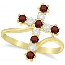 Diamond & Garnet Religious Cross Twisted Ring 14k Yellow Gold (0.51ct)