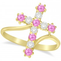 Diamond & Pink Sapphire Religious Cross Twisted Ring 14k Yellow Gold (0.51ct)