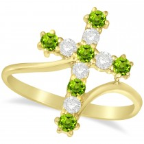 Diamond & Peridot Religious Cross Twisted Ring 14k Yellow Gold (0.51ct)