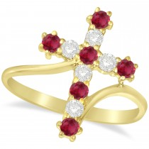 Diamond & Ruby Religious Cross Twisted Ring 14k Yellow Gold (0.51ct)