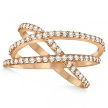 Three Band Intertwined Abstract Diamond Ring 14k Rose Gold 0.65ct