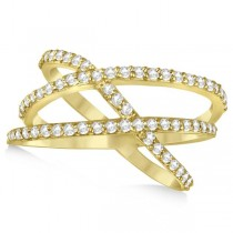 Three Band Intertwined Abstract Diamond Ring 14k Yellow Gold 0.65ct