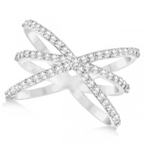 Diamond X Shaped Ring with 3 Orbital Bands 14k White Gold 0.65ct.