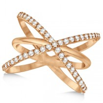 "Diamond ""X"" Ring with Three Criss Cross Bands 14k Rose Gold 0.50ct."