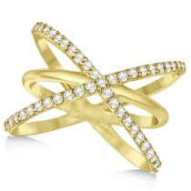 "Diamond ""X"" Ring with Criss Cross Bands 14k Yellow Gold 0.50ct."