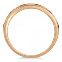 Channel Set Blue Sapphire & Diamond Ring 14k Rose Gold 0.79ctw