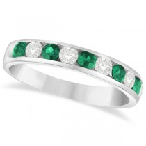 Channel Set Emerald & Diamond Ring Band in 14k White Gold 0.79ctw