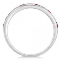 Channel Set Ruby & Diamond Ring Band in 14k White Gold 0.79ctw