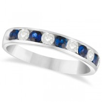 Channel Set Blue Sapphire & Diamond Ring 14k White Gold 0.79ctw