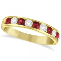 Channel Set Ruby & Diamond Ring Band in 14k Yellow Gold 0.79ctw