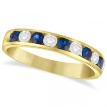 Channel Set Blue Sapphire & Diamond Ring 14k Yellow Gold 0.79ctw