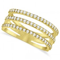Three Band Diamond Ring Pave Set 14k Yellow Gold 0.60ct