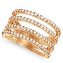 Four Band Diamond Fashion Ring Pave Set in 14k Rose Gold 0.80ct