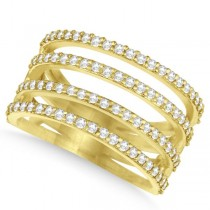 Four Band Diamond Fashion Ring Pave Set in 14k Yellow Gold 0.80ct