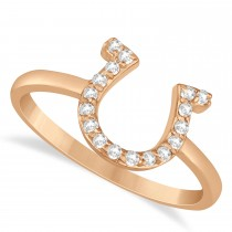 Diamond Horseshoe Ring 14k Rose Gold (0.15ct)