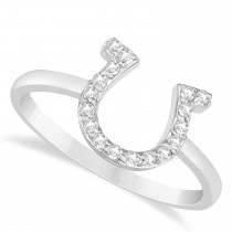 Diamond Horseshoe Ring 14k White Gold (0.15ct)