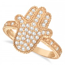 Diamond Hamsa Ring 14k Rose Gold (0.41ct)