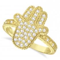Diamond Hamsa Ring 14k Yellow Gold (0.41ct)