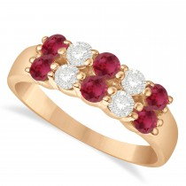 Double Row Ruby & Diamond Ring 14k Rose Gold (1.24ct)